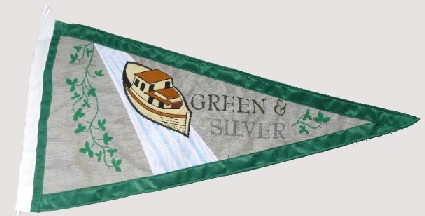 [Inland Waterways Association of Ireland Green and Silver flag]